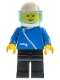 Minifig No: zip026  Name: Jacket with Zipper - Blue, Black Legs, White Helmet, Trans-Light Blue Visor
