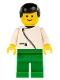 Minifig No: zip035  Name: Jacket with Zipper - White, Green Legs, Black Male Hair