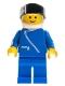 Minifig No: zip039  Name: Jacket with Zipper - Blue, Blue Legs, White Helmet, Black Visor