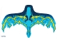 Part No: 38787  Name: Plastic Wings with Dark Blue, Medium Azure, Blue and Yellow Lightning on Transparent Background Pattern