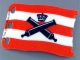 Part No: 84624  Name: Plastic Flag 7 x 4 with Crossed Cannons over Red Stripes Pattern