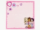 Part No: clikits310pb02  Name: Clikits Paper, Card with Hole with Hearts, Stars, Flowers, and Girls on Pink Background with Dark Pink Border Pattern