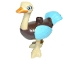 Part No: dupostrich02  Name: Duplo Ostrich with Orange Beak, Medium Azure Wings and Tail Feathers (Merc)
