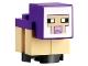Part No: minesheep11  Name: Minecraft Sheep, Lamb, Tan Legs, Dark Purple Head - Brick Built