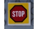 Part No: 11203pb051  Name: Tile, Modified 2 x 2 Inverted with Road Sign 'STOP' in Octagon Pattern (Sticker) - Set 60169