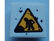 Part No: 11203pb065  Name: Tile, Modified 2 x 2 Inverted with Warning Triangle Road Sign with Minifigure Worker Shoveling Pattern (Sticker) - Set 70423