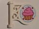 Part No: 13459pb005  Name: Road Sign Round on Pole with Bright Pink Frosted Cupcake, 4 Hearts, Bright Light Blue Scroll Pattern on Both Sides (Stickers) - Set 41119