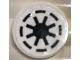 Part No: 14769pb014  Name: Tile, Round 2 x 2 with Bottom Stud Holder with SW Republic Pattern on White Background (Sticker)