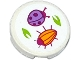 Part No: 14769pb015  Name: Tile, Round 2 x 2 with Bottom Stud Holder with Ladybug (Ladybird), Beetle and Leaves Pattern (Sticker) - Set 41059