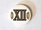 Part No: 14769pb070  Name: Tile, Round 2 x 2 with Bottom Stud Holder with Gold Roman Numeral 12 'XII' Pattern (Sticker) - Set 75904