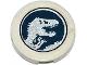 Part No: 14769pb074  Name: Tile, Round 2 x 2 with Bottom Stud Holder with Jurassic World Logo Pattern (Sticker) - Set 75919
