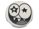 Part No: 14769pb091  Name: Tile, Round 2 x 2 with Bottom Stud Holder with Black Star Eyes and Smile with Sharp Teeth (Nixel Face) Pattern