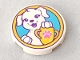 Part No: 14769pb179  Name: Tile, Round 2 x 2 with Bottom Stud Holder with White Puppy Dog and Yellow Trophy with Dark Pink Paw Print on Medium Azure Background Pattern