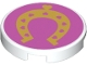 Part No: 14769pb180  Name: Tile, Round 2 x 2 with Bottom Stud Holder with Gold Horseshoe with Hearts on Dark Pink Background Pattern