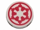 Part No: 14769pb262  Name: Tile, Round 2 x 2 with Bottom Stud Holder with SW Red Imperial Logo Pattern