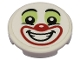 Part No: 14769pb311  Name: Tile, Round 2 x 2 with Bottom Stud Holder with Clown Face with Yellowish Green Eye Shadow and Red Nose and Mouth Pattern (Sticker) - Set 70432