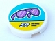 Part No: 14769pb322  Name: Tile, Round 2 x 2 with Bottom Stud Holder with Trans-Purple Sunglasses and '50' on Medium Azure and Yellow Sign Pattern (Sticker) - Set 41315
