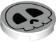 Part No: 14769pb343  Name: Tile, Round 2 x 2 with Bottom Stud Holder With Skull Pattern