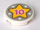 Part No: 14769pb406  Name: Tile, Round 2 x 2 with Bottom Stud Holder with Pink '10', Yellow Star and Five White Stars on Silver Background Pattern (Sticker) - Set 41300