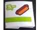 Part No: 15068pb244  Name: Slope, Curved 2 x 2 with Hot Dog, Lime Stripe and Number 3 Pattern (Sticker) - Set 60110