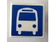 Part No: 15210pb040  Name: Road Sign Clip-on 2 x 2 Square Open O Clip with White Bus on Blue Background Pattern (Sticker) - Set 40170