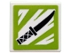 Part No: 15210pb060  Name: Road Sign 2 x 2 Square with Open O Clip with Black Knife on Lime and White Background Pattern (Sticker) - Set 71708