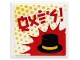 Part No: 15210pb061  Name: Road Sign 2 x 2 Square with Open O Clip with Red Ninjago Logogram 'HATS', Black Hat and Yellow Dots Pattern (Sticker) - Set 71708