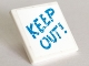 Part No: 15210pb062  Name: Road Sign 2 x 2 Square with Open O Clip with 'KEEP OUT!' Pattern (Sticker) - Set 41335