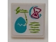 Part No: 15210pb083  Name: Road Sign 2 x 2 Square with Open O Clip with Medium Azure Egg, Magenta Hourglass and Lime Writing Pattern (Sticker) - Set 41173