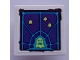 Part No: 15210pb096  Name: Road Sign 2 x 2 Square with Open O Clip with Dark Purple Screen with Dark Azure Grid, Yellowish Green Ghosts Pattern (Sticker) - Set 70423