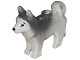 Part No: 16606pb001  Name: Dog, Husky with Black Eyes, Black Nose and Marbled Dark Bluish Gray Ears and Back Pattern