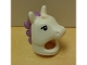 Part No: 18831pb01  Name: Minifigure, Headgear Mask Horse with Hole in Top, Black Eyelashes and Medium Lavender Mane Pattern (Unicorn Girl)