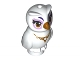 Part No: 21333pb01  Name: Owl, Elves with Gold Beak, Eyes and Necklace and Lavender Eye Borders Pattern (Nascha)