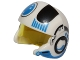 Part No: 21566c01pb03  Name: Minifigure, Headgear Helmet SW Rebel Pilot Raised Front and Microphone with Trans-Yellow Visor with Black and Blue Stripes and Blue Circle Pattern