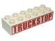 Part No: 2300pb008  Name: Duplo, Brick 2 x 6 with Red 'TRUCKSTOP' with Border Pattern