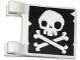 Part No: 2335pb129  Name: Flag 2 x 2 Square with Skull and Crossbones (Jolly Roger) Pattern with No Lower Jaw on Both Sides