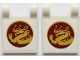 Part No: 2335pb193  Name: Flag 2 x 2 Square with Vertical Gold Dragon in Dark Red Circle on White Background Pattern on Both Sides (Stickers) - Set 70618