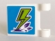 Part No: 2335pb208  Name: Flag 2 x 2 Square with Lime Lightning Bolt on Blue Background Pattern (Sticker) - Sets 41327 / 41335