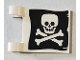 Part No: 2335pb212  Name: Flag 2 x 2 Square with Flat Skull and Crossbones (Jolly Roger) Pattern on Both Sides