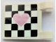 Part No: 2335pb237L  Name: Flag 2 x 2 Square with Metallic Pink Heart on Black Checkered Background Pattern Model Left Side (Sticker) - Set 41352