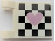Part No: 2335pb237R  Name: Flag 2 x 2 Square with Metallic Pink Heart on Black Checkered Background Pattern Model Right Side (Sticker) - Set 41352