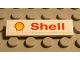 Part No: 2431pb021  Name: Tile 1 x 4 with Shell Logo and Text Red on White Pattern (Sticker)