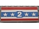Part No: 2440pb006  Name: Vehicle, Spoiler / Plow Blade 6 x 3 with Hinge with Red and Blue Stripes with White Number 2 and Stars Pattern