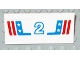Part No: 2440pb009  Name: Vehicle, Spoiler / Plow Blade 6 x 3 with Hinge with Red and Blue Stripes with White Number 2 and Stars Pattern (Sticker) - Set 1992