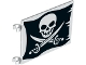 Part No: 2525pb008  Name: Flag 6 x 4 with Skull with Crossed Cutlasses (Jolly Roger) Pattern on Both Sides