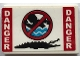 Part No: 26603pb021  Name: Tile 2 x 3 with Red and White 'DANGER', Black Crocodile and No Swimming Sign Pattern (Sticker) - Set 70907