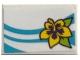 Part No: 26603pb078L  Name: Tile 2 x 3 with Medium Azure Lines and Flower Pattern Model Left Side (Sticker) - Set 41317