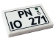 Part No: 26603pb146  Name: Tile 2 x 3 with 'PN IO 271' License Plate Pattern (Sticker) - Set 10271