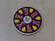 Part No: 2958pb006  Name: Technic, Disk 3 x 3 with Yellow Points and Circuits on Dark Purple Pattern (Sticker) - Set 8245