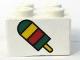 Part No: 3003pb014  Name: Brick 2 x 2 with Ice Pop (Freezer / Lollipop / Lolly / Pole / Popsicle / Stick) Pattern (Sticker) - Set 4165